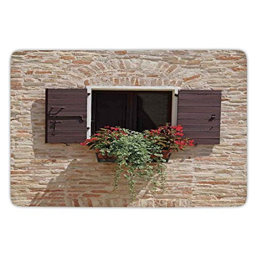 Bathroom Bath Rug Kitchen Floor Mat Carpet,Tuscan,Antique Looking Window on an Ancient Stone Wall With Flowers Pienza Tuscany Picture,Brown Ivory,Flannel Microfiber Non-slip Soft Absorbent