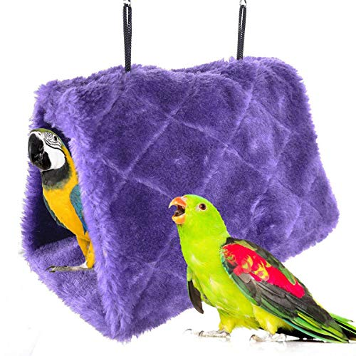 (Winter Warm Bird Nest House Shed Hut Hanging Hammock Finch Cage Plush Fluffy Birds Hut Hideaway for Hamster Parrot Macaw Budgies Eclectus Parakeet Cockatiels Cockatoo Lovebird (S, Purple))