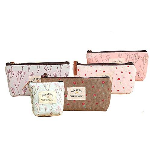 BcPowr 5pcs Multifunctional Portable Flower Floral Canvas Pen Holder,Purse Pouch Bag,Pen Bag Cosmetic Bag
