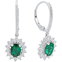 14K Gold 7X5 MM Each Oval Cut Lab Created Emerald & Round Diamond Ladies Dangling Earrings