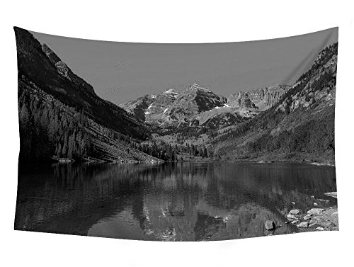 Maroon Bells (maroon bells peaks colorado k - Wall Tapestry Art For Home Decor Wall Hanging Tapestry 60x40 Inches Black and White)
