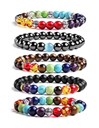 J.Fée 5 Pack Chakras Reiki Healing Gemstone Bracelet Men&Women Stretch Bracelet - Healing Oil Diffuser Bracelet Series Meaning Card Gift Ideas