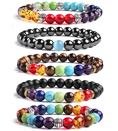 7 Chakras Stretch Bracelet J.Fee Healing Gemstone 5 Pack Jewelry Set Oil Diffuser Bracelet Beaded Crystal Adjustable Bracelet Yoga Mala Lava Stone Bracelet Christmas Birthday Gifts for Women Men Boy
