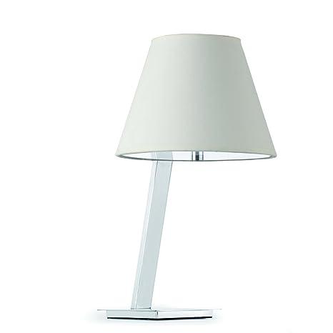 Faro Barcelona Moma 68500 - Sobremesas y lámparas de pie, 60W, acero, pantalla textil blanca, difusor pvc opal, color blanco