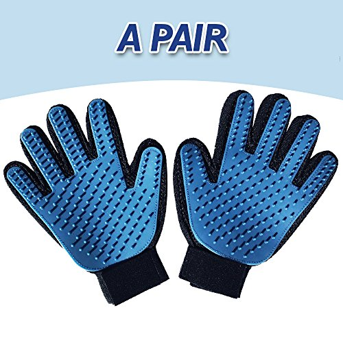 Pet Grooming Glove- Pet Brushing for Deshedding Dog - Cat Massage Tool with rubber tips, Efficient and Magic Pet Hair Remover Mitt for dogs - Cats with Long & Short Fur. (A PAIR)