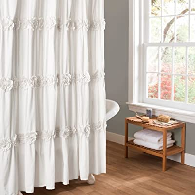 """Lush Decor Darla Ruched Floral Bathroom Shower Curtain, 72"""" x 72"""", White - Soft, 100% polyester fabric bathroom shower curtain with a delicate, cute and feminine design to enhance  your space. Pretty, elegant shower curtain with ruffled flower details covering the entire shower curtain. Lush Décor Darla shower curtain is the ideal piece for your farmhouse style, shabby chic or vintage bathroom decor. - shower-curtains, bathroom-linens, bathroom - 51VSesD%2ByVL. SS400  -"""