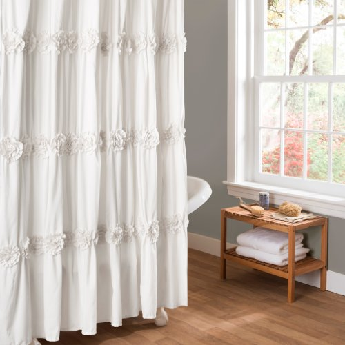 Lush Decor Darla Shower Curtain, 72 by 72-Inch, White (Shower Curtain Tassel)