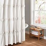 Lush Decor Darla Shower Curtain, 72 by 72-Inch, White