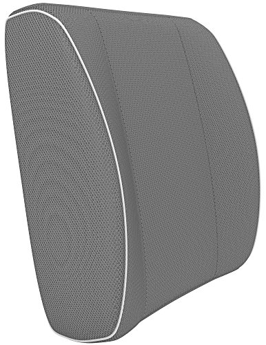 Vremi Premium Memory Foam Lumbar Support Pillow - Chair Cushion For Lower Back Pain - Best for Office Home Computer Gaming or Car Chair - With Adjustable Dual Straps - For Sleeping and Travel - Gray