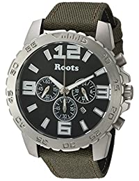 Roots Men's 'Core' Quartz Stainless Steel and Canvas Casual Watch, Color:Green (Model: 1R-LF604BA6G)