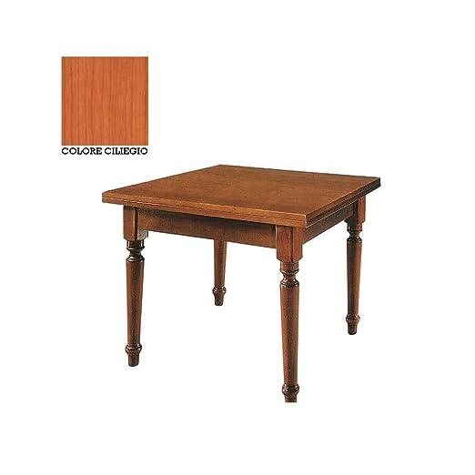 Mesa de madera maciza cuadrado extensible color cerezo 100 x 100 ...