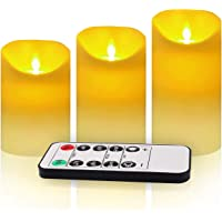 """3 Pack Flickering Flameless Candles with Remote Control, 4"""" 5"""" 6"""" Battery Operated LED Pillar Candle Set, 2/4/6/8 Hours…"""