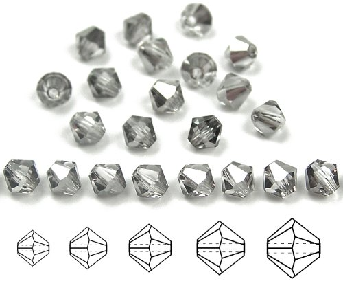 6mm Crystal Silver Shade, Czech MC Rondell Bead (Bicone, Diamond Shape), 2 gross = 288 pieces