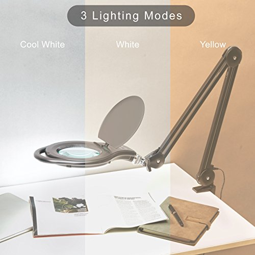LED Magnifier Lamp, PHIVE Dimmable Magnifying Desk Lamp/Task Light with Clamp (3 Lighting Modes, 5 Diopter, 5'' Diameter Glass Lens, Dust Cover) Swing Arm Workbench, Drafting, Work Light by PHIVE (Image #4)