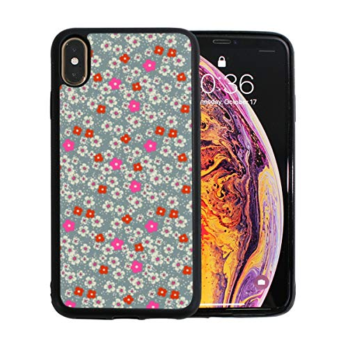 Soft TPU Gel Shock-Absorption Cell Phone Case Compatible for iPhone Xs Max Cherry Blossom Background Art Bumper Anti-Scratch Hard PC Back Cover ()