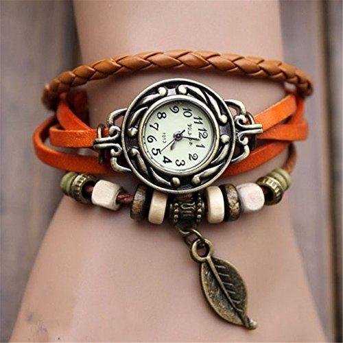 Womens Quartz Watch,Hosamtel Female Lady Girls Vintage Weave Wrap Leather Leaf Beads Bracelet Wrist Watches C99 - Wraps Weave Hand Classic