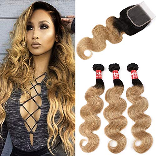 Haha Ombre Brazilian Hair 3 Bundles With Closure Body Wave 2 Tone Black to Blonde Ombre Human Hair Bundles With Lace Closure (T1B/27,20 22 24+18)