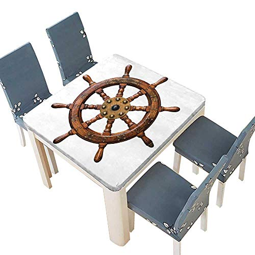 PINAFORE Waterproof SpillProof Tablecloth Decor Collection Wooden Brass Ship Steering Wheel Antique Aged Historic Natural Decora Picnic,Outdoor Indoor Party use 57 x 57 INCH (Elastic Edge) ()