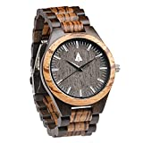 Treehut Zebrawood and Ebony Wooden Men's Watch - Tri-Fold Clasp - Stainless S.