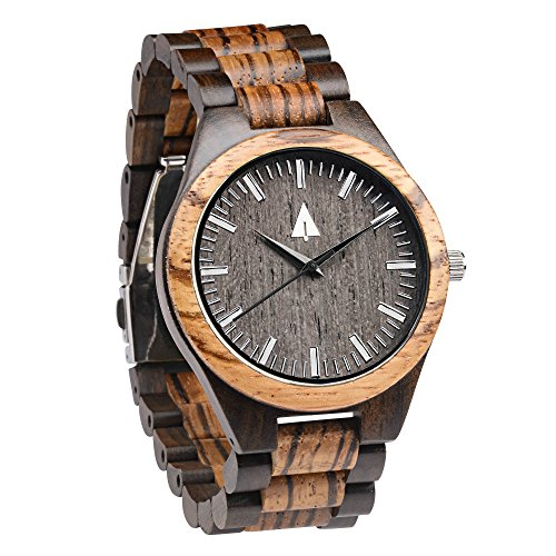Treehut Zebrawood and Ebony Wooden Men's Watch – Tri-Fold Clasp – Stainless Steel Buckle