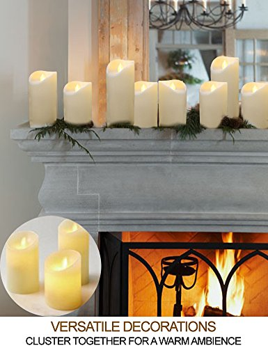 HOME MOST Set of 3 LED Pillar Candles Battery Operated (IVORY, 5''/6''/7'' Tall, Oblique Edge)- Flameless Candles Timer Outdoor Candles Waterproof - Electric Candles Battery Operated Plastic Candles Bulk by HOME MOST (Image #3)