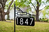 "Extra Large Contemporary Reflective 911 Yard Address Sign - 6"" Numbers on Both Sides, 60"" Post"