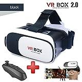 Black Virtual Reality Headset VR BOX 2.0 with bluetooth black remote (3D glasses)