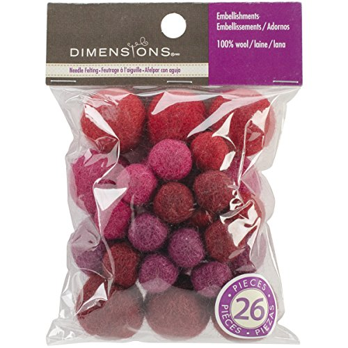 Dimensions Crafts 72-74020 Garnet Wool Ball Assortment for Needle Felting