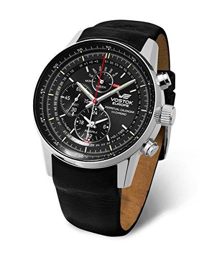 (Vostok Europe Gaz Limo All-Timer Perpetual Calendar Chrono Men's Alarm Watch Black YM86/565A287)