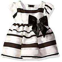 Sweet Heart Rose baby-girls Baby Stripe Organza Dress With Bow Detail