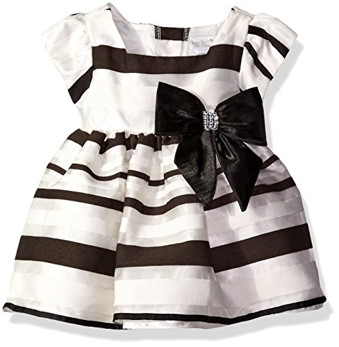 Sweet Heart Rose Little Girls Stripe Organza Dress with Bow Detail, Black/Ivory, 3-6 Months