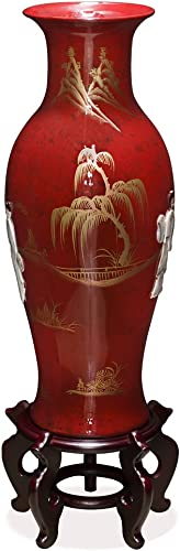 China Furniture Online 24 Inch Red Lacquer Mother of Pearl Porcelain Vase