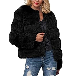 Womens Ladies Warm Faux Fur Coat Jacket Solid Winter Gradient Parka Outerwear Autumn Cardigan Fall Winner Coat for Womens …