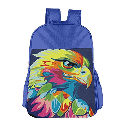 Kid's Eagle Hawk Oil Painting Colored School Backpack Bookbag For Boys & Girls Aged ()