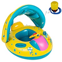 Kicpot Baby Pool Float With Sun Canopy, Inflatable Swimming Ring Floats Boat Adjustable Sunshade for the Age 6-36 Months Kids