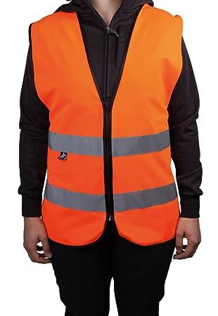 warnweste orange mit reißverschluss