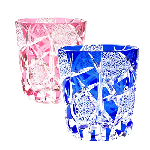 Pair of Pink & Blue Crystal Double Old Fashioned Glass Edo Kiriko Cut Glass Crack - Pair [Japanese Crafts Sakura] by Japanese Crafts Sakura