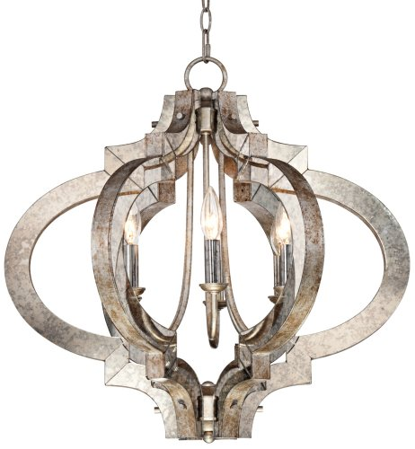 Ornament Aged Silver 23 1/4 Wide 6-Light Chandelier Euro Pewter Chandelier
