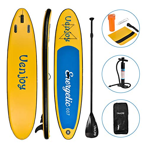 Uenjoy 10' Inflatable Stand Up Paddle Board (6 Inches Thick) Non-Slip Deck Adjustable Paddle Backpack,Pump, Repairing kit, Yellow