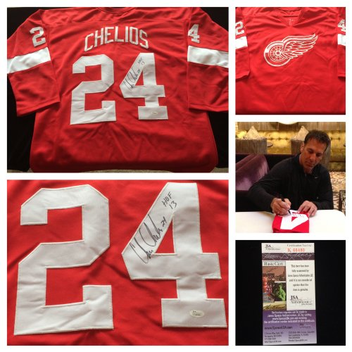 Chris Chelios Red Wings - Chris Chelios Detroit Red Wings Signed Autograph Red Jersey. JSA COA
