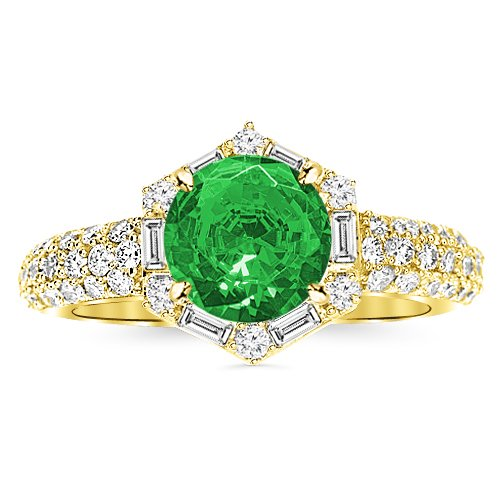 1.05 Carat Vintage/Antique Baguette and Round Halo Hexagon Diamond Engagement Ring 14K Yellow Gold with a 0.5 Carat Round Cut AAA Quality Emerald (Heirloom Quality)