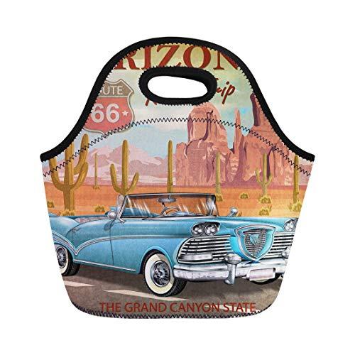 Traditional American Road Trip (Semtomn Neoprene Lunch Tote Bag Cactus Vintage Arizona Road Trip Car Garage Retro 1950S Reusable Cooler Bags Insulated Thermal Picnic Handbag for Travel,School,Outdoors,Work)