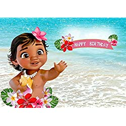 TJ 7X5FT Baby Moana Backdrop 1st Birthday Party Decor Banner Sea Blue Water Summer Photography