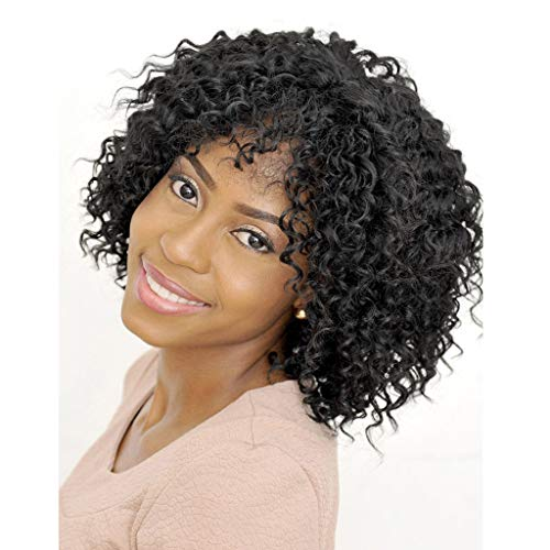 Short Fluffy Wavy Wigs Big Curls Wigs for Black Women African American Synthetic Hair Wig With Bangs (a) -