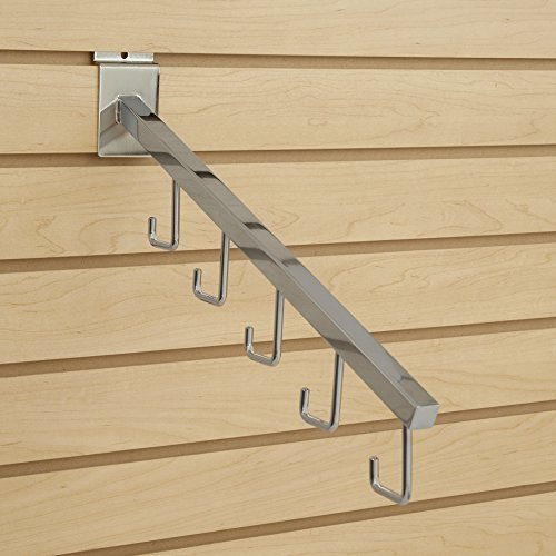 Waterfall Square Tube 5 Hook For Slatwall Chrome
