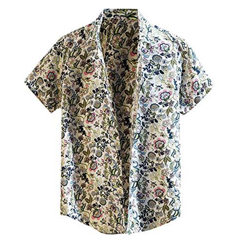 Shirt Standard-Fit Hawaiian Summer Fashion Shirts Casual Short Sleeve Beach Tops Loose Casual Blouse Mens (3XL,1- Blue)]()