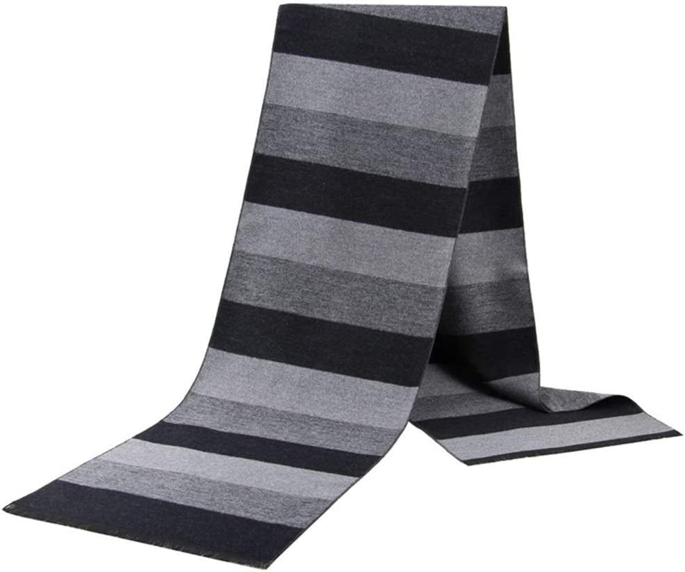 Color : 02, Size : 17531cm Thermal Men Scarves Winter Warm Striped Scarf Acrylic Middle-Aged Casual Classic Simple Style Cozy