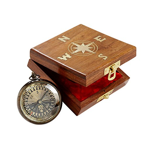 Ten Thousand Villages Gold Round Metal and Inlayed Wood Compass 'True North Compass'