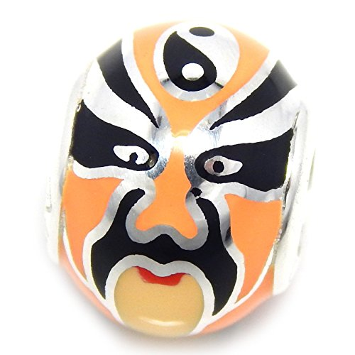[925 Solid Sterling Silver Black and Orange Chinese Opera Mask Spacer Charm Bead] (Chinese Dynasty Costume)