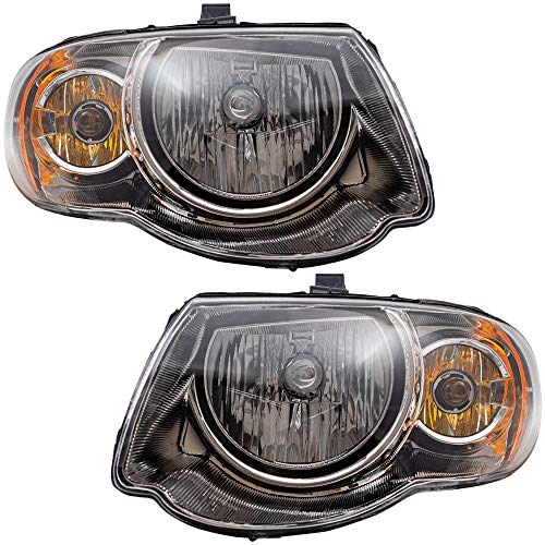 "Driver and Passenger Halogen Headlights Replacement for 05-07 Town & Country Van with 119"" Wheel Base 4857991AD 4857990AD"